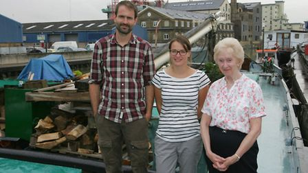 Euan Maybank, Rachael Smith and Margaret Simmons on the barge