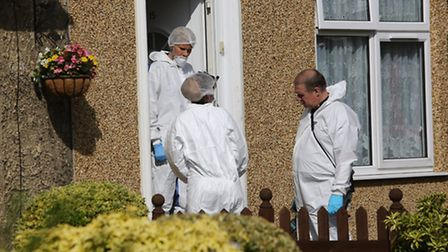 Forensic officers search the house of Gary Pocock in Lillechurch Road, Dagenham