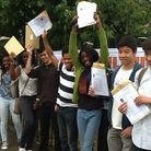Pupils celebrate getting their results at The Warren School