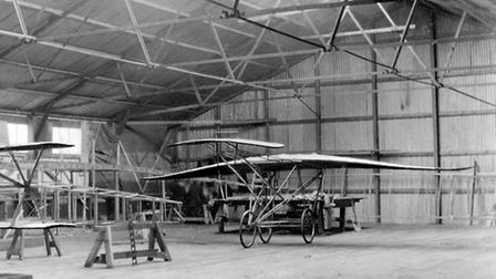 Inside the Hadley Page assembly shed at Barking Creek, 1910