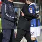 Robert Grant, of Rochdale FC, faces up to Dagenham manager John Still (Pics: Dave Simpson/TGSPHOTO)