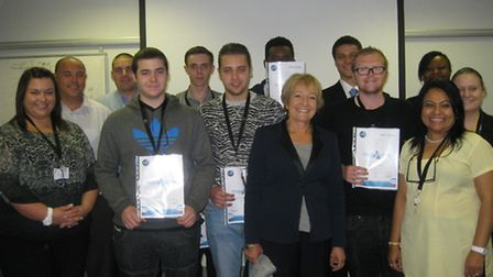 Margaret Hodge MP presents certificate to the young people who attended Hovis' Open Day