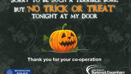 """The """"no trick or treat"""" poster designed by Barking and Dagenham Council"""