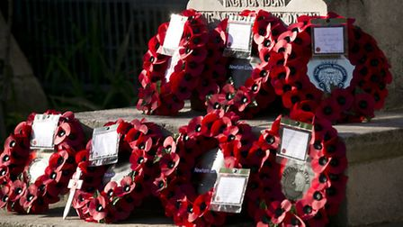 Poppy wreaths lay on a memorial (Picture: Andrew Baker)