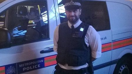 Pc Robert Morgan at the end of his shift yesterday