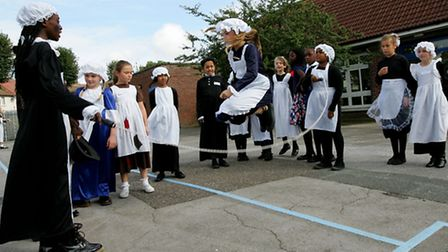 Victorian Day at Dorothy Barley Junior School Year five pupils dressing up as victorians.
