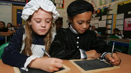 Victorian Day at Dorothy Barley Junior School Year five pupils dressing up as victorians. Maisie C
