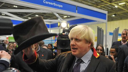 Mayor of London Boris Johnson tries his hand at being a chef at Skills London (Picture: BRD.ASSOCIAT