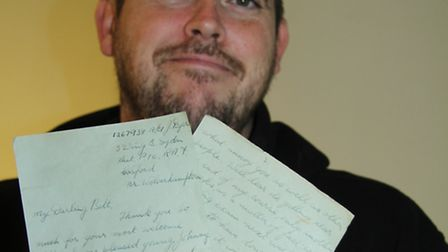 Michael Murphy with Dyer's letter he found in his skirting board