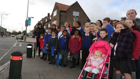 Julia Groves, her son and other parents and children from Valence Primary School in Dagenham by the