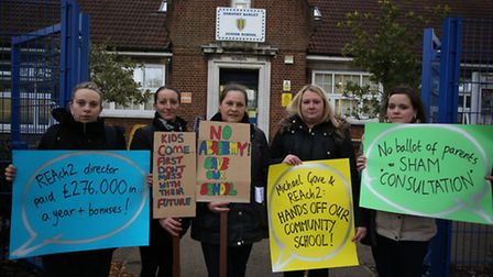 Parents protesting against the proposed academy conversion.