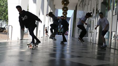 Skaterboarders in Barking Town Square