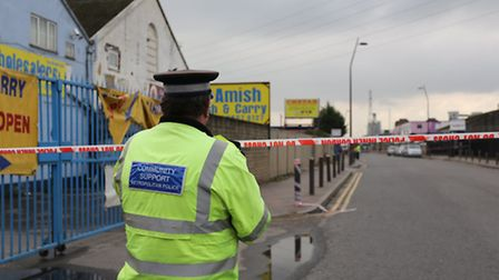 Police at the scene of Mr Atwal's death in October (pic: Ellie Hoskins)