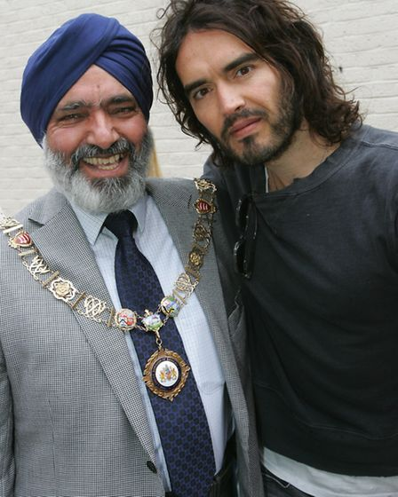 Mayor cllr Hardial Singh Rai and Russell Brand at the event