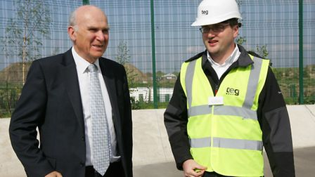 Vince Cable with senior contracts manager Sam Smith (pic: Paul Bennett)