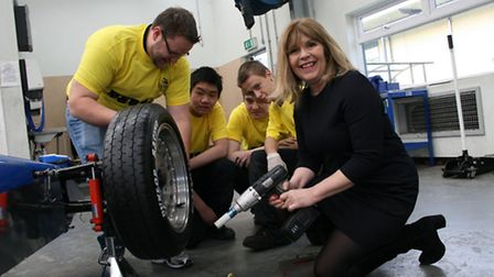 Maggie Philbin takes part in the �pit stop challenge� with Barking & Dagenham College students
