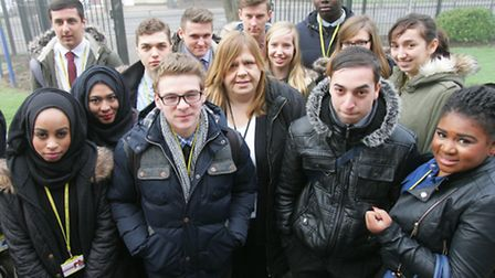 Sarah Scrace, Warren school chair of govenors with sixth form students at the school