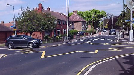 The new road marking at the junction of Gale Street, Rugby Road and Ivy House Road (pic: Sherrie Est