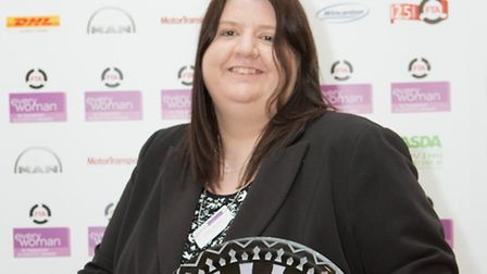Tesco worker Claire Morrissy with her 2014 FTA everywoman in Transport and Logistics award