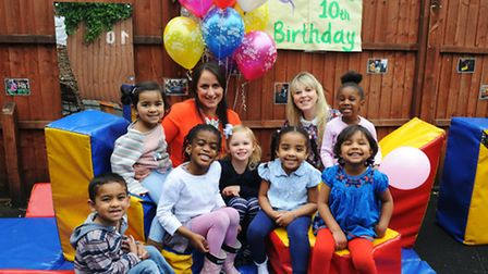 Nursery owners Leah Clarke (back left) and Sarah Hawkins (back right) celebrate 10 years of Barney B