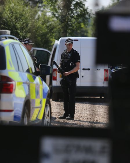 Armed police at the scene of the shooting in August (pic: Ellie Hoskins)