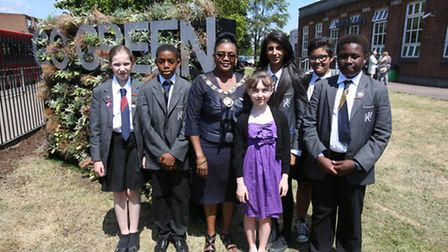 The Mayor of Barking and Dagenham with Warren School pupils by the Living Wall.