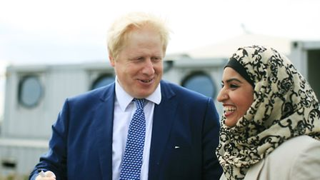 Mayor of London Boris Johnson with deputy council leader, and cabinet member for housing, Cllr Saima