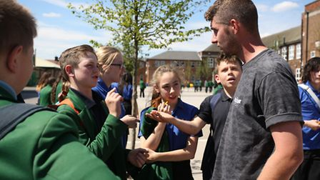 BMX star Matti Hemmings came to Sydney Russell School in Dagenham as part of a compeition they won a