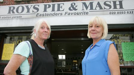 Staff members Eileen Boreham and Maggie Morgan outside Roys Pie and Mash shop.