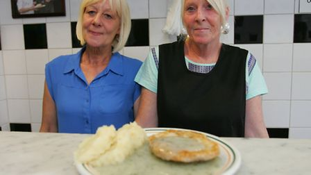 Maggie Morgan and Eileen Boreham serve up their last pie and mash dish.