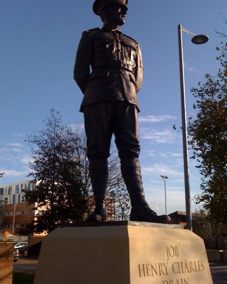 The statue of Job Drain VC in Barking Broadway (pic: Dweller under Creative Commons licence CC-BY-SA