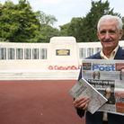 Then and now: Andrew Summers by the war memorial in Barking Park with a copy of the modern Barking a