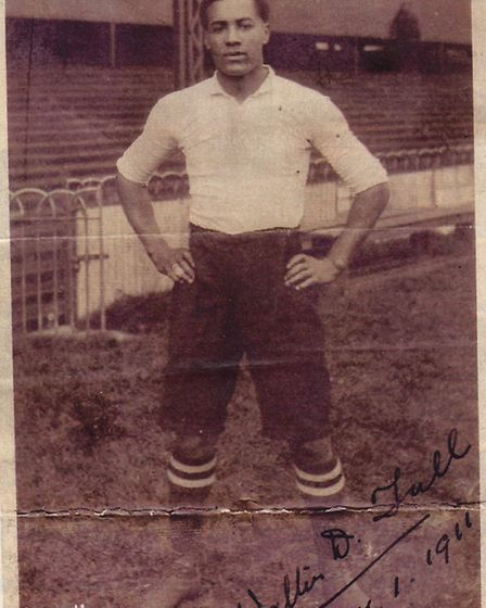 An official team portrait of Walter Tull in his Spurs kit in January 1911