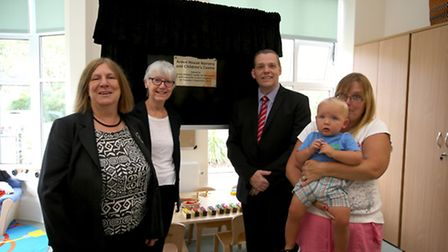 Helen Jenner, Cllr Everlyn Carpenter, Cllr Darren Rodwell, 16- month old Thomas Connolly and his mum
