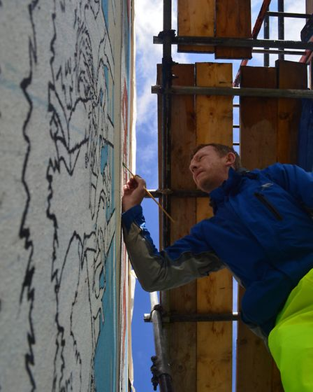 Artist Chad McCail designed the mural and spent his summer engaging with as many of Becontree�s resi