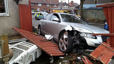 The car that crashed into Angie Davies' fence