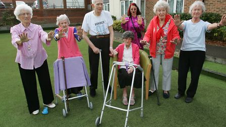 106-year-old Lillian Twinley with other residents at the home