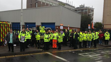 NHS staff united in strike action over pay this morning (Photo: Ashleigh Coules)