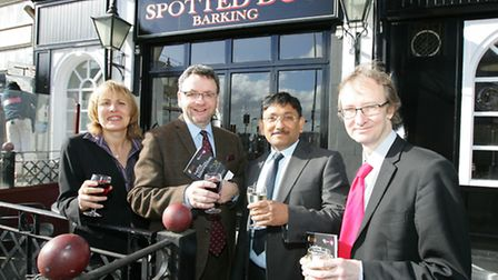 Mark Kass (second from left) and Cllr Cameron Geddes (right) at the Spotted Dog pub, Barking to laun