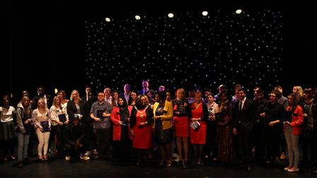 A group photo of the winning students at the Barking and Dagenham College Excellence Awards 2014.