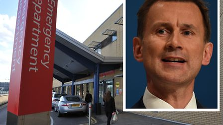 The A&E at Queen's Hospital, Romford. Inset: health secretary Jeremy Hunt (Pictures: PA)