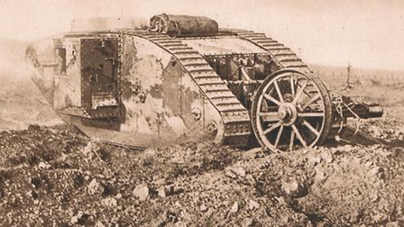 A wrecked tank