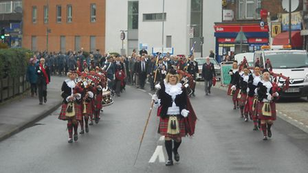 The Dagenham Girl Pipers led the Remembrance Sunday march.