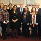 Cllr Laila Butt, cabinet member for crime and enforcement, with council officers and the Latin Ameri
