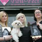 Apprentices Kirsty Leeder and Carla Garey with Stacy Ismael and Petal the dog