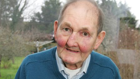 Albert Hollis, age 81 for 70th anniversary of V2 bomb that affected his home. He was injurred in the