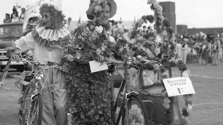 Decorated bicycles at the town show in 1965