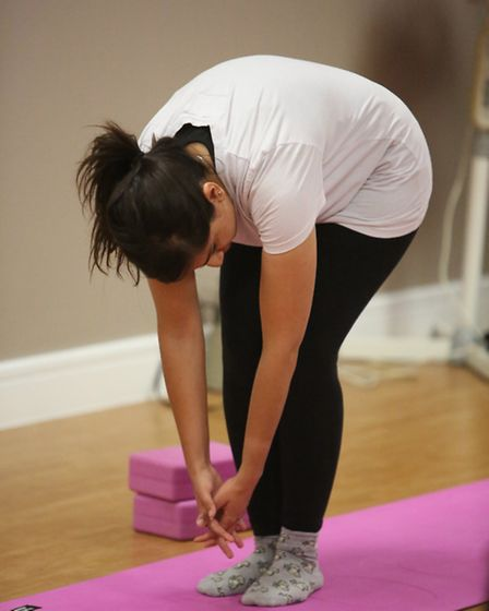 Journalist Seema Hakim trying out a Yoga class at Barking Sporthouse for the Get Active campaign