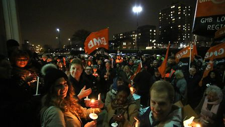 Candlelit Vigil outside the Civic Centre in Dagenham to make a stand as part of the fight to secure