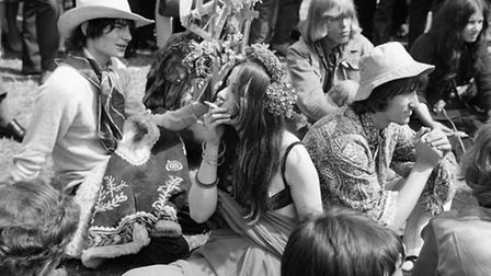 Crowds gather in London's Hyde Park to support a campaign to legalise hashish and marijuana in 1967